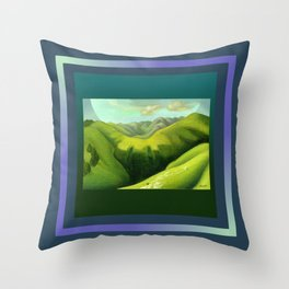 Mustering at the End of the Farm Throw Pillow