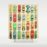 clockwork orange Shower Curtains featuring Car Park by Cassia Beck