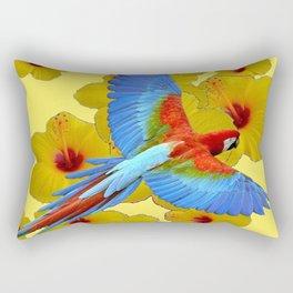 TROPICAL BLUE MACAW YELLOW HIBISCUS ART Rectangular Pillow