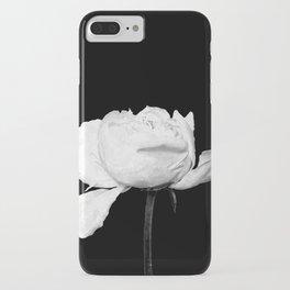 White Peony Black Background iPhone Case