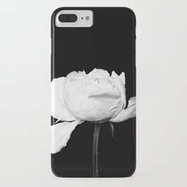 White Peony Black Background iPhone Case
