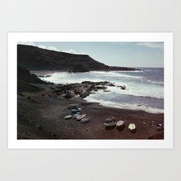 Boats on a beach Art Print