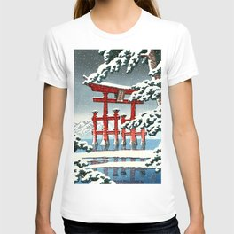 Miyajima Shrine in Snow by Kawase Hasui - Japanese Vintage Woodblock Ukiyo-e Painting T-shirt