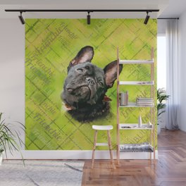Cute French Bulldog - Frenchie with word pattern Wall Mural
