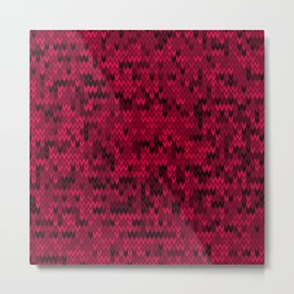 Red knitted textiles Metal Print