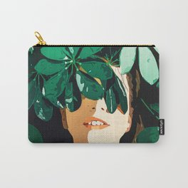 Blinded By Leaves, Modern Bohemian Woman Forest Jungle Dark Nature Fashion Painting Carry-All Pouch