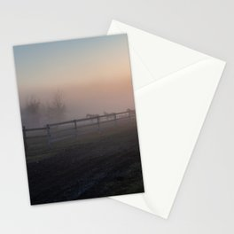 Horses in morning fog Stationery Cards