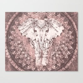 Bohemian, Elephant, Mandala, Blush, Moon Canvas Print