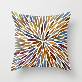 Watercolor Burst – Retro Palette Throw Pillow