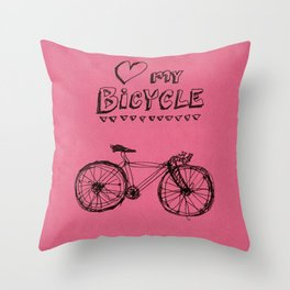 Love my Bicycle Throw Pillow