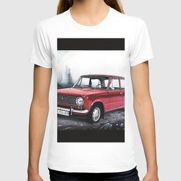 RUSSIAN LADA IN RED WITH SLOVAKIA TATRY MOUNTAINS IN THE BACKGROUND T-shirt