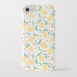 Summer Lemons with Pink Blossoms iPhone Case