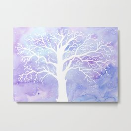 Watercolor Abstract winter oak tree purple background Metal Print