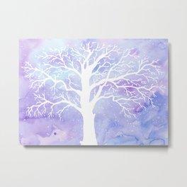 Watercolor Abstract winter oak tree purple background Metal Print