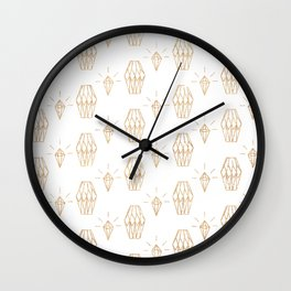 White gold faux glitter elegant diamond geometrical Wall Clock