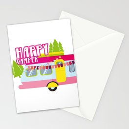 Happy Camper Road Trip Camping Vacation Funny Stationery Cards