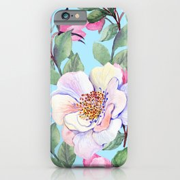 Chic, Elegance Floral Print on Pastel Blue Background iPhone Case