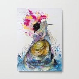 Multicolored Hummingbird on Hair Island Metal Print