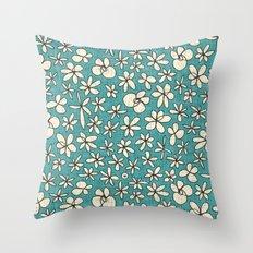 garland flowers blue Throw Pillow