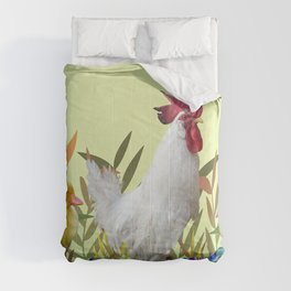 Rooster Chicken Easter eggs colorful Comforters