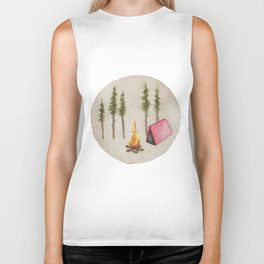 Campfire, Outdoorsy, Camping, Pine Trees, Camp Fire Biker Tank