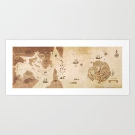 The Antlered Ship_Map Endpapers Art Print