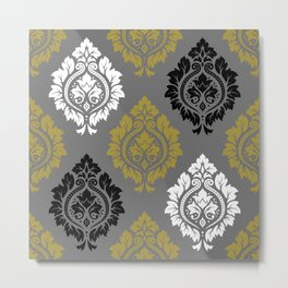 Decorative Damask Pattern BW Gray Gold Metal Print
