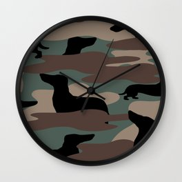 Camo Weiner Dogg Wall Clock