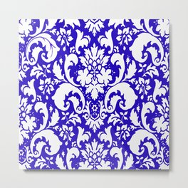 Paisley Damask Blue and White Metal Print