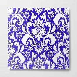Paisley Damask Blue and White Metal Print
