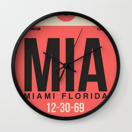MIA Miami Luggage Tag 1 Wall Clock