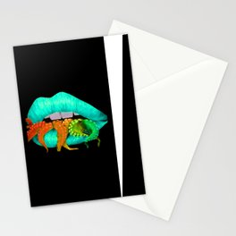 Blue Octo Lips Stationery Cards