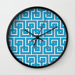 Greek Key - Turquoise Wall Clock