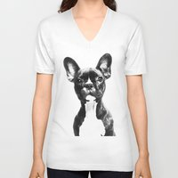 french bulldog V-neck T-shirts featuring French BullDog by Maioriz Home