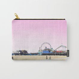 Santa Monica Pier with Ferries Wheel and Roller Coaster Against a Pink Sky Carry-All Pouch