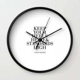 Keep Your Heels,Head And Standards High Printable Art Fashion Wall Art Fashion Decor Fashion Print Wall Clock