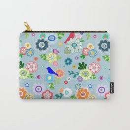 Whimsical Spring Flowers in Blue Carry-All Pouch