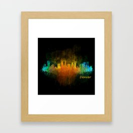 Denver Colorado City Watercolor Skyline Hq v4 Framed Art Print