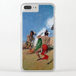"""Frederic Remington Western Art """"Smoke Signals"""" Clear iPhone Case"""