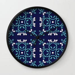 Decorative Floral Pattern 27 - Bunting and Fountain Blue, Cararra Wall Clock