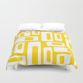 Retro Mid Century Modern Abstract Pattern 335 Yellow Duvet Cover