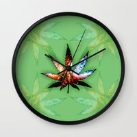 marijuana Wall Clocks featuring Marijuana Leaf - Design 1 by Spooky Dooky