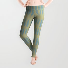 Tranquil Blue on Earthy Green Parable to 2020 Color of the Year Back to Nature Grunge Vertical Dash Leggings