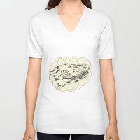 crocodile V-neck T-shirts featuring Crocodile by Mr. JJ