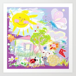 My happy world Doodle for children room Nursery home decor Art Print