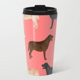 Labrador retriever coats of all colors dog breed pet portraits dogs pets unique pet themed gifts Travel Mug