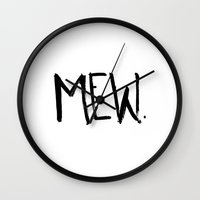 mew Wall Clocks featuring Mew. by Jenna Settle