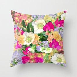 English Country Garden Throw Pillow