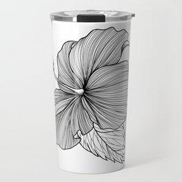 Hibiscus Lineart White Travel Mug