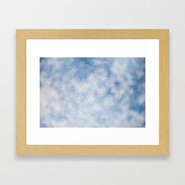 Blue white sparkles bokeh abstract Framed Art Print